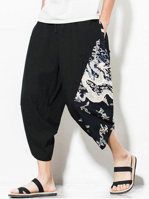 womens Dragon Printed Casual Elastic Waist Pants - BLACK 4XL Mobile