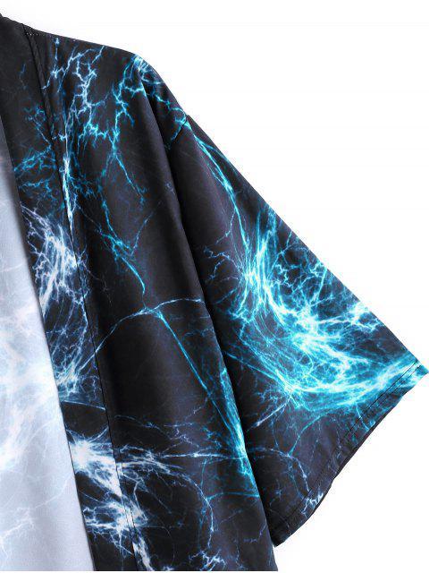 best Open Front Print Kimono Cardigan - DARK SLATE BLUE 3XL Mobile