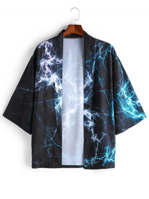 online Open Front Print Kimono Cardigan - DARK SLATE BLUE 2XL Mobile