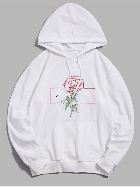 ZAFUL花朵刺繡囊袋狀連帽衫 - 白色 2XL Mobile