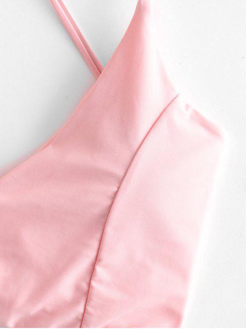 ZAFUL Maillot de Bain Tankini Fleur Imprimée à Coupe Haute à Lacets - Rose  2XL Mobile