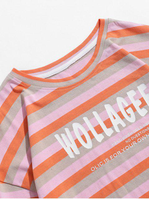 womens Letter Colorful Striped Print T-shirt - PINK L Mobile