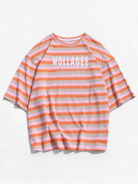 hot Letter Colorful Striped Print T-shirt - PINK M Mobile
