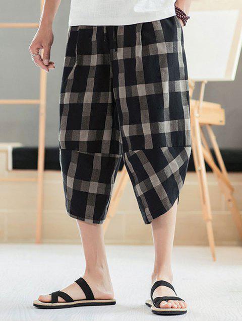 outfit Plaid Pattern Elastic Waist Casual Pants - BLACK 2XL Mobile