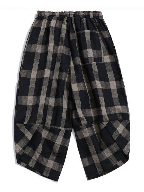 outfits Plaid Pattern Elastic Waist Casual Pants - BLACK 4XL Mobile