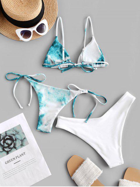 unique ZAFUL Tie Dye High Leg Three Pieces Bikini Swimsuit - MULTI-B S Mobile