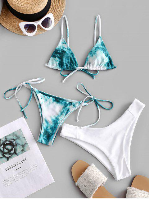 sale ZAFUL Tie Dye High Leg Three Pieces Bikini Swimsuit - MULTI-B M Mobile