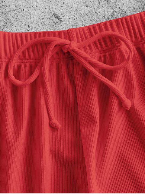 buy ZAFUL Tie Ribbed Shorts - RED S Mobile