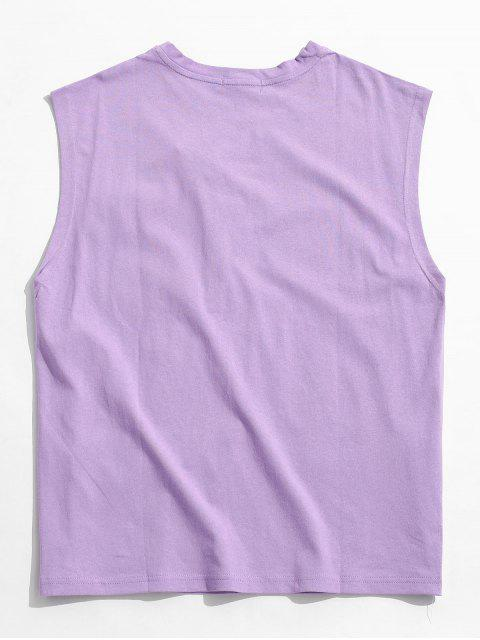 women's Letter Pattern Pocket Decoration Tank Top - PURPLE MIMOSA M Mobile