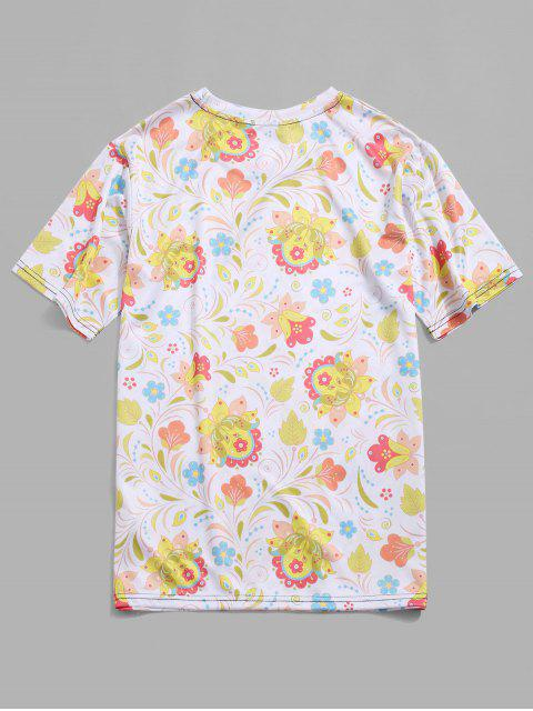 women Flower Allover Print Short Sleeve Vacation T-shirt - CREAM 4XL Mobile