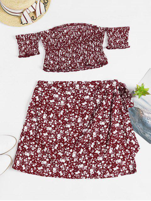 new ZAFUL Floral Smocked Top and Wrap Skirt Set - RED WINE L Mobile