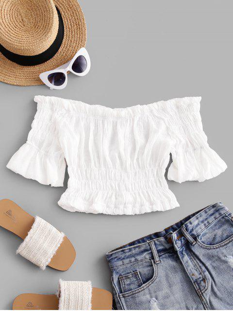 trendy Solid Off Shoulder Smocked Beach Top - WHITE ONE SIZE Mobile