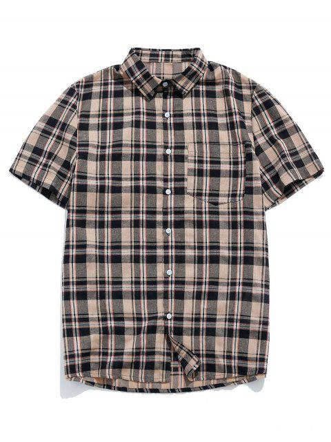 outfits ZAFUL Plaid Pocket Short Sleeve Button Shirt - BROWN XL Mobile