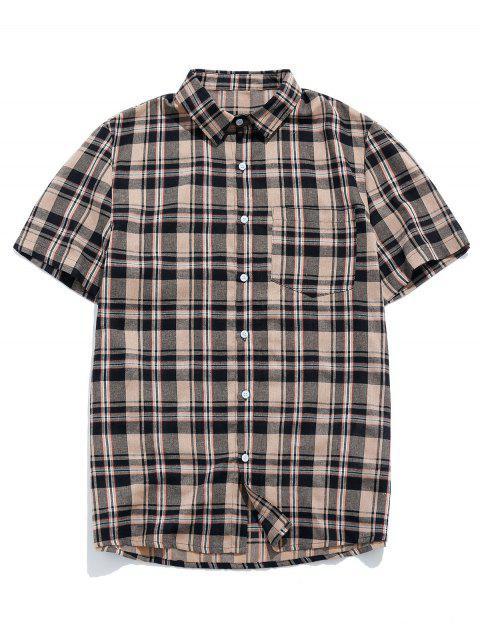shop ZAFUL Plaid Pocket Short Sleeve Button Shirt - BROWN 2XL Mobile
