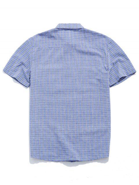 ZAFUL Chemise Boutonnée à Carreaux Imprimé avec Poche - Bleu-gris S Mobile