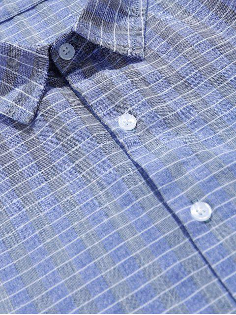 chic ZAFUL Grid Print Pocket Button Shirt - BLUE GRAY 2XL Mobile