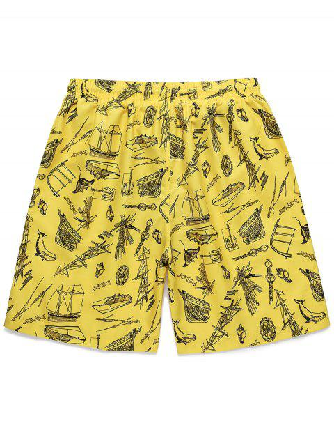 shops Boat Printed Drawstring Casual Shorts - YELLOW M Mobile