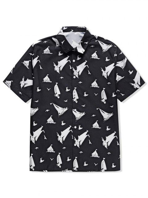 ladies Ship Print Casual Short Sleeves Shirt - BLACK 2XL Mobile