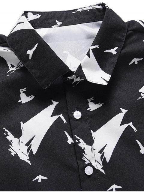 women Ship Print Casual Short Sleeves Shirt - BLACK L Mobile