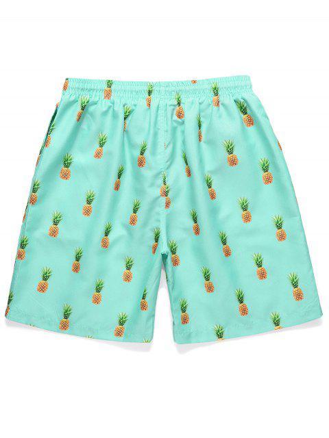 fashion Pineapple Printed Drawstring Casual Shorts - CELESTE 2XL Mobile