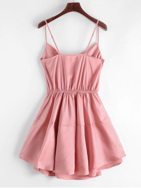 outfit ZAFUL Silky Cowl Neck Cami Dress - TULIP PINK S Mobile