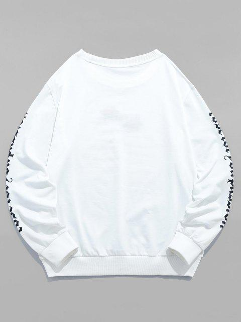 womens ZAFUL Rose Letter Embroidered Casual Sweatshirt - WHITE S Mobile