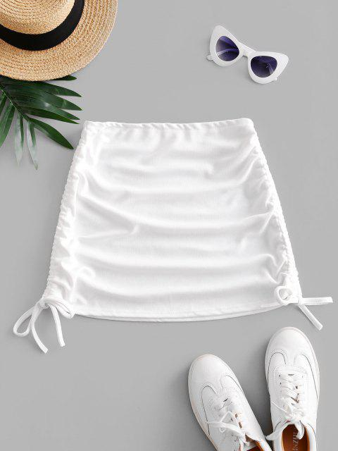 Gerippter Seitlichem Minirock - Weiß Eine Größe Mobile