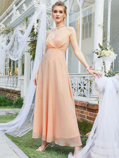 ZAFUL Chiffon Surplice Cami Wedding Dinner Dress - Orange Pink S