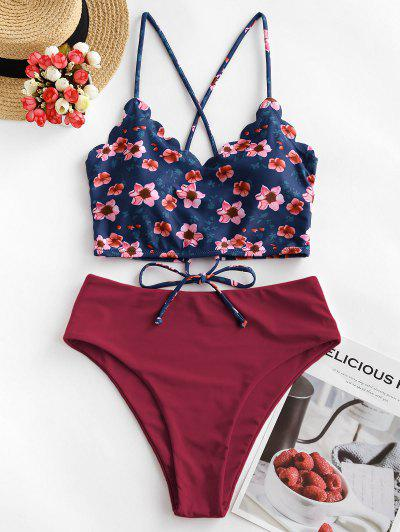 ZAFUL Floral Scalloped Crisscross Tankini Swimsuit - Red Wine M