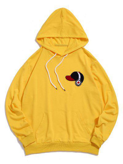 ZAFUL Fluffy Cap With Headphone Drawstring Hoodie - Yellow 2xl