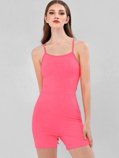 ZAFUL Backless Lace Up Neon Skinny Romper - Neon Pink S