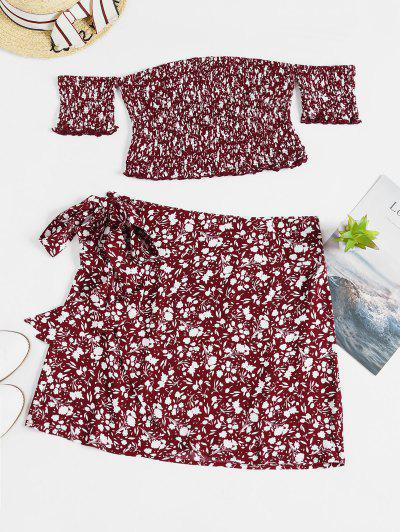 ZAFUL Floral Smocked Top And Wrap Skirt Set - Red Wine M