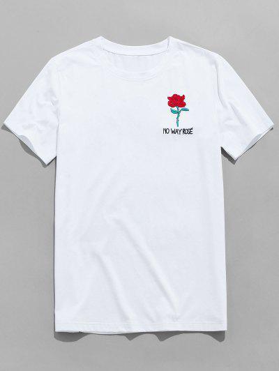Rose Besticktes Kurzarm T-Shirt - Weiß M