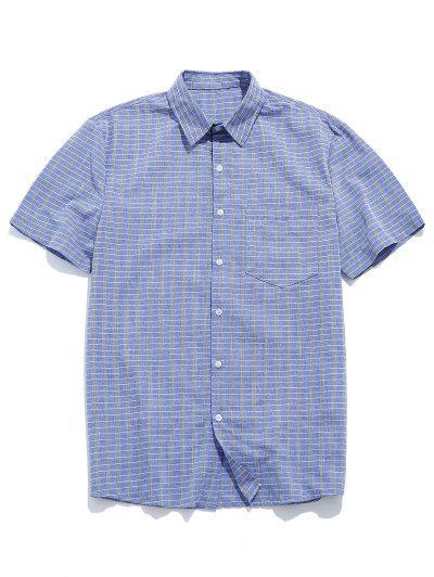 ZAFUL Grid Print Pocket Button Shirt - Blue Gray Xl