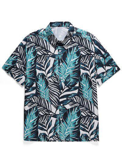 Leaf Print Button Casual Shirt - Macaw Blue Green 2xl