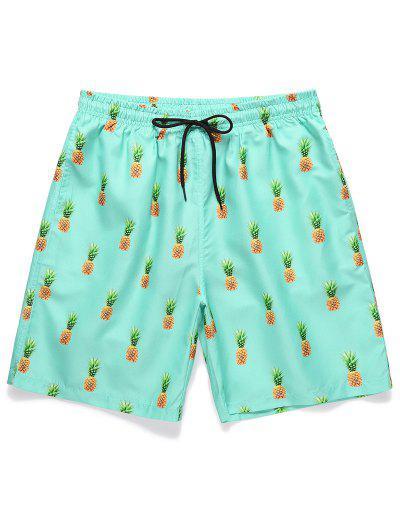Pineapple Printed Drawstring Casual Shorts - Celeste Xl