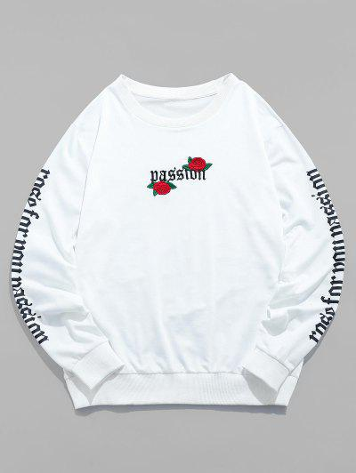 ZAFUL Rose Letter Embroidered Casual Sweatshirt - White M