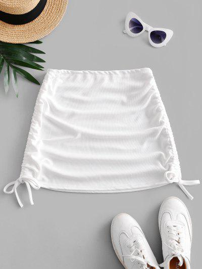 Ribbed Cinched Side Mini Skirt - White