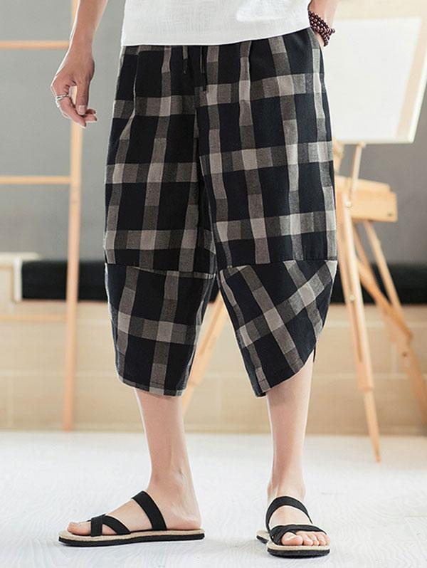 Plaid Pattern Elastic Waist Casual Pants фото