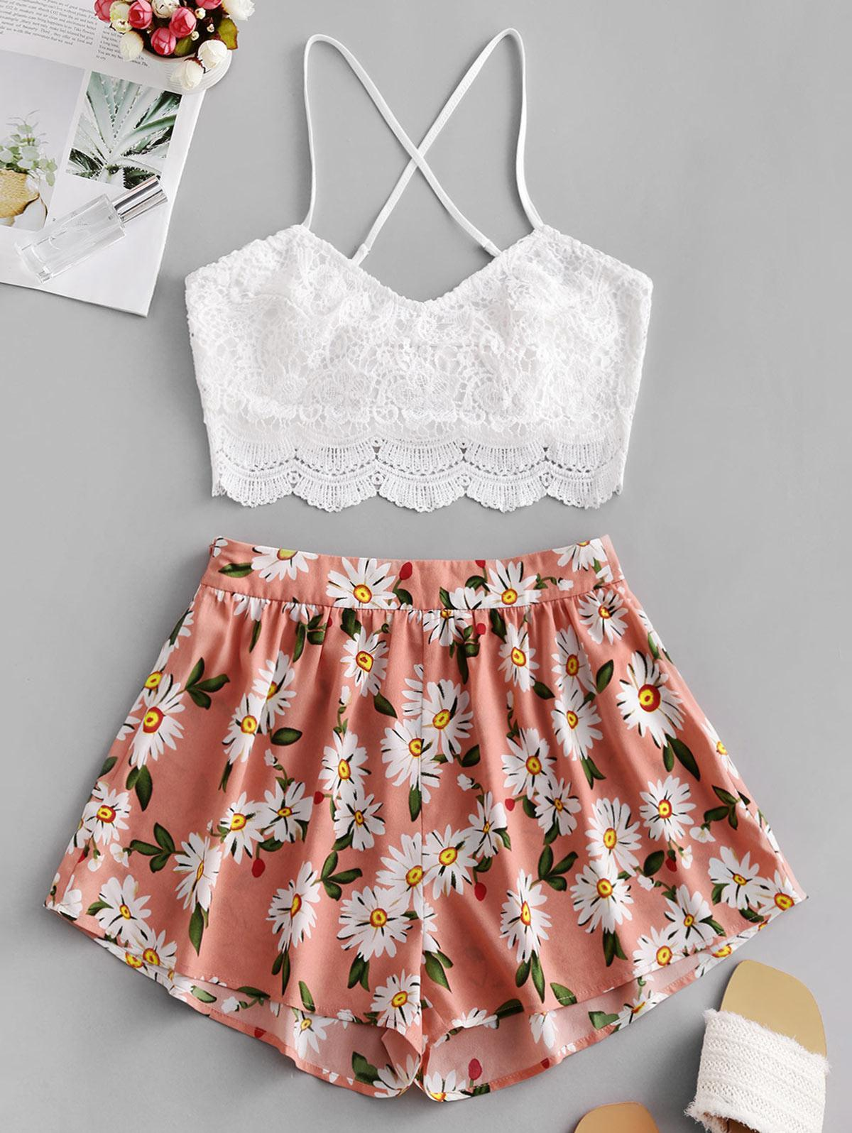 ZAFUL Flower Print Guipure Lace Insert Tie Back Shorts Set