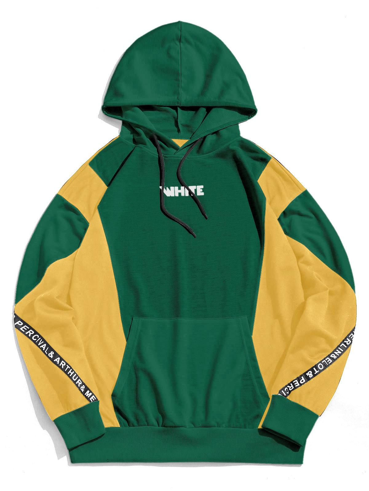 ZAFUL Color Blocking Spliced Letter Graphic Casual Hoodie фото