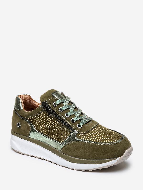 Rhinestone Zipper Lace Up Sneakers фото