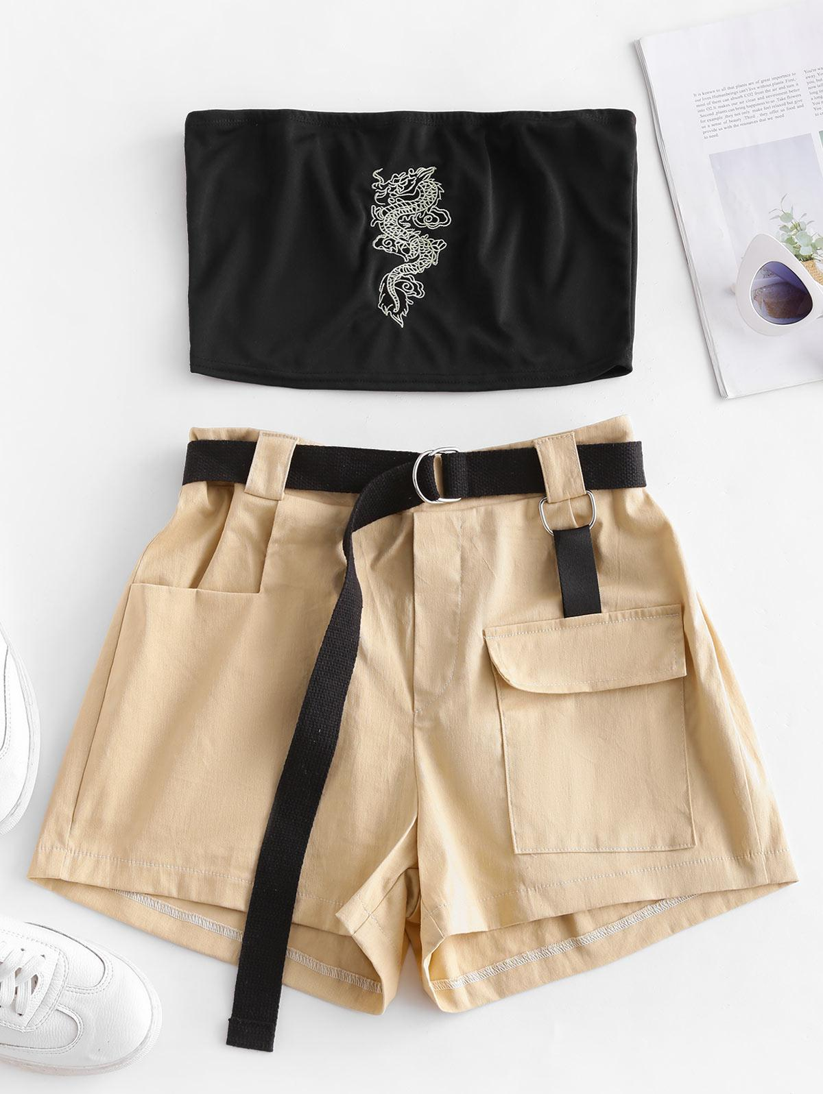 Two Piece Dragon Embroidered Oriental Cargo Shorts Set