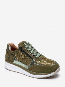 حجر الراين سحاب ربط الحذاء حتى أحذية رياضية - التمويه الأخضر الاتحاد الأوروبي 39