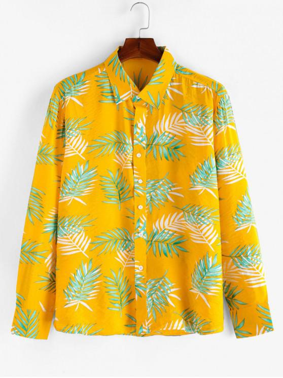 lady Leaf Pattern Button Long Sleeves Shirt - YELLOW 2XL