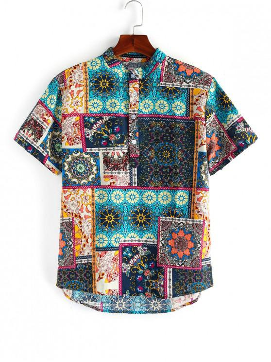 shops Floral Patchworks Printed Short Sleeves Shirt - MULTI 3XL