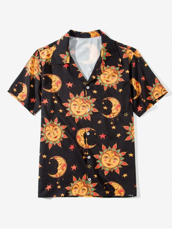 outfits Cartoon Sun Moon Print Short Sleeve Button Shirt - CARAMEL 4XL