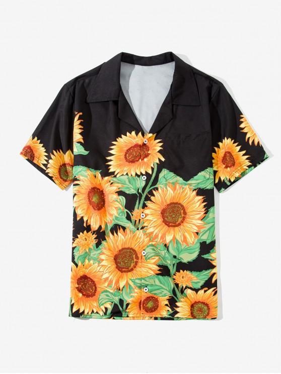 Camisa de Botón de Impresión de Girasol - Marrón Dorado 2XL