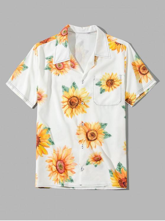 women Sunflower Print Pocket Button Vacation Shirt - SUN YELLOW 4XL