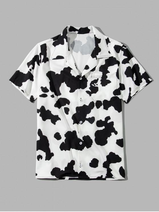 Cow Print Pulsante maniche corte tasca della camicia - Bianca Latte 4XL